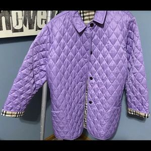 women's Burberry quilted jacket purple